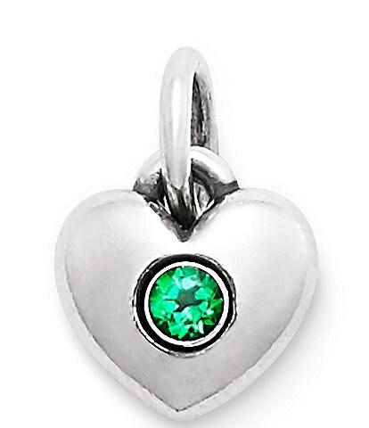 James Avery Keepsake Heart Charm May Birthstone with Lab-Created Emerald