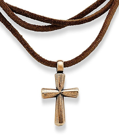 James Avery Rustic Bronze Cross Leather Necklace