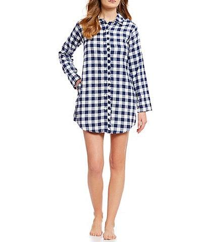 Jasmine & Ginger Flannel Buffalo-Plaid Print Sleep Shirt