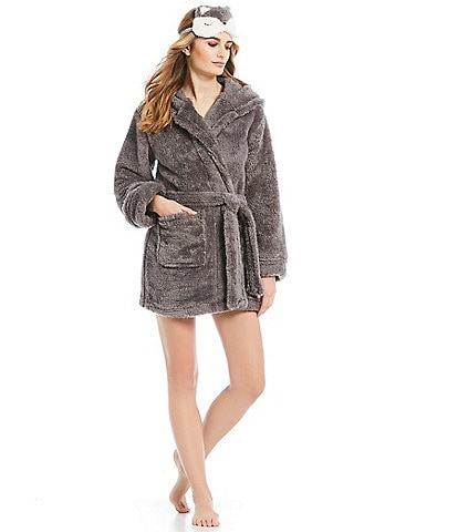 Jasmine & Ginger Shaggy Plush Hoodie Wrap Robe with Eye Mask