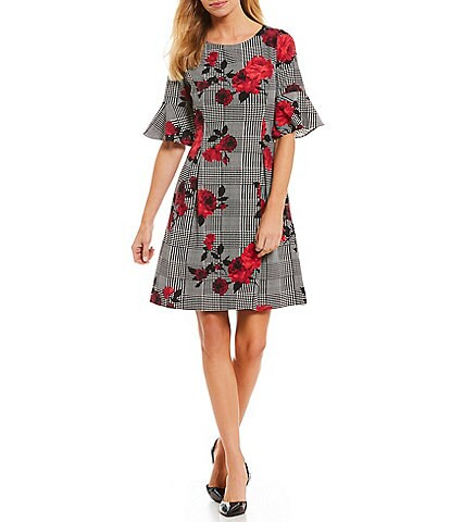 Jessica Howard Glen Plaid Floral Print Bell Sleeve A-Line Dress