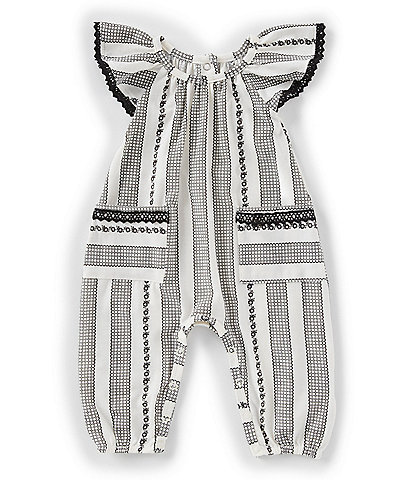Jessica Simpson Baby Girls Newborn-9 Months Flutter-Sleeve Lace Stripe Coverall
