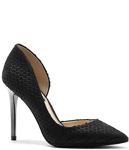 Jessica Simpson Lucina Snake Emboss Iridescent Heel Pumps