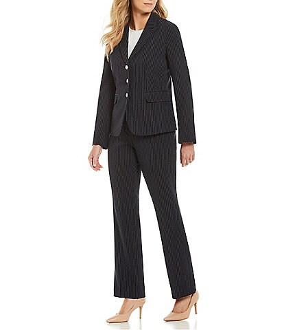 John Meyer Pinstripe Three-Button Jacket 2-Piece Pant Suit