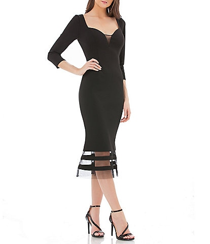 JS Collections Sweetheart Neck Midi Dress