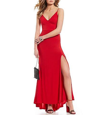 Jump V-Neck Strappy Side Long Dress