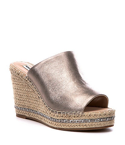 KARL LAGERFELD PARIS Carina Leather Espadrille Wedges