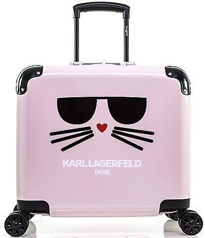 KARL LAGERFELD PARIS Cat in a Box 15#double; Pilot Case Carry-On Spinner