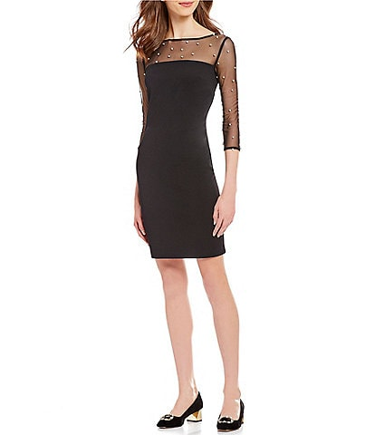 KARL LAGERFELD PARIS Pearl Trim Key Hole Sheath Dress