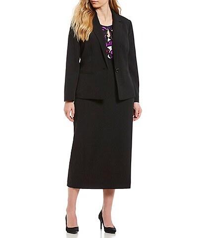 Kasper Plus Seamed Stretch Crepe Blazer & Crepe Column Skirt