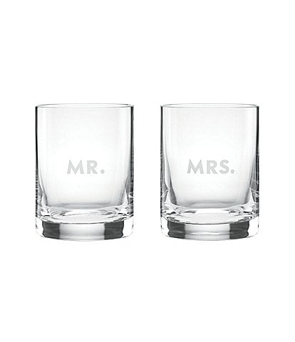 kate spade new york Darling Point Mr. & Mrs. Double Old Fashioned Glass Pair
