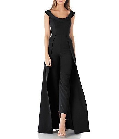 Kay Unger Stretch Crepe Sleeveless Walk-thru Pant And Overlay Skirt Jumpsuit