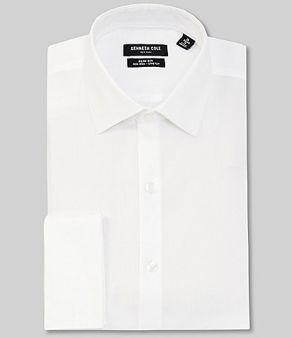 Kenneth Cole New York Non-Iron Slim Fit Spread Collar French Cuff Solid Dress Shirt