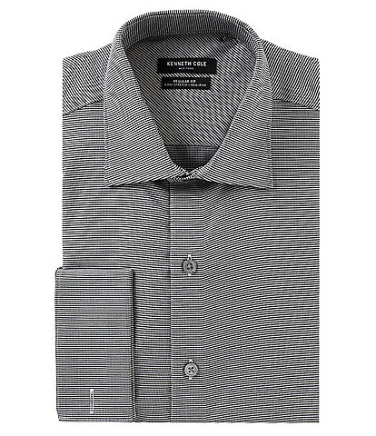 Kenneth Cole New York Non-Iron Stretch Regular Fit Spread-Collar Checked Dress Shirt
