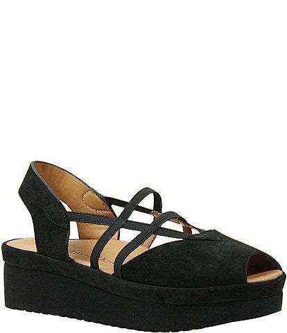 L Amour Des Pieds Adelais Nubuck Slip-On Platform Sandals