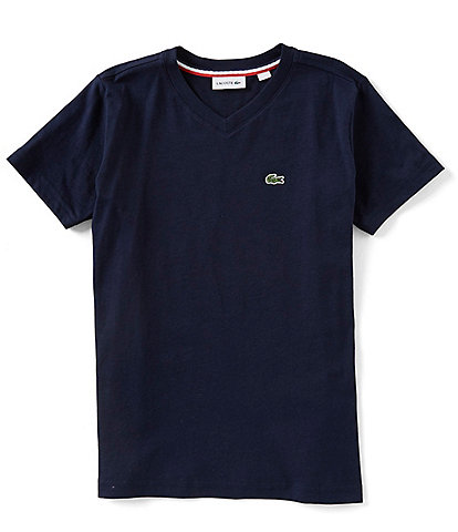 Lacoste Big Boys 8-16 Short Sleeve V-Neck Tee
