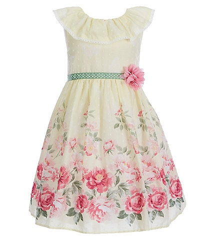 Laura Ashley Little Girls 2T-6X Floral Border-Print Fit-And-Flare Dress