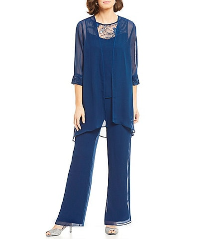 Le Bos Embroidered Chiffon 3-Piece Pant Set