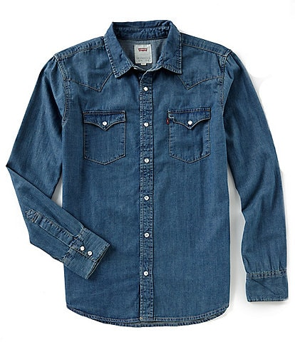 Levi's® Young Men's Slim Fit Barstow Solid Snap-Front Denim Shirt
