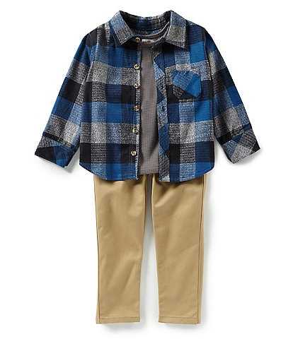 Little Brother Little Boys 2T-4T Plaid Thermal Shirt, Tank And Solid Pant Set