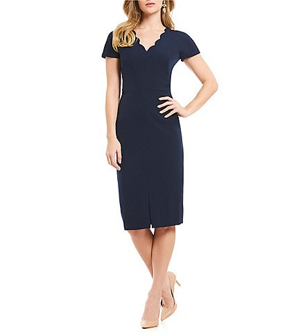 Maggy London Scalloped Neckline Sheath Dress