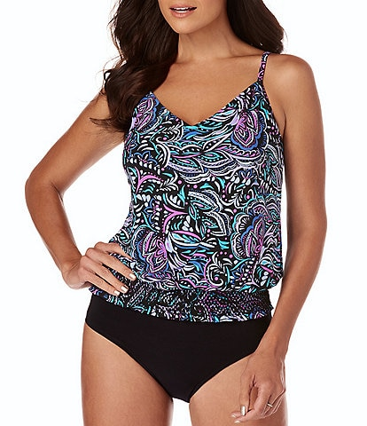 Magicsuit Gypsy Justina Blouson Tankini Top & Solid Jersey Brief Shirred Swimsuit Bottom