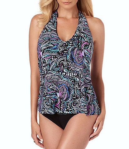 Magicsuit Gypsy Trish Twist Back Underwire Halter Tankini Top & Solid Jersey Shirred Bottom