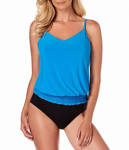 Magicsuit Solid Justina Blouson Tankini Swimsuit Top & Solid Jersey Brief Shirred Swimsuit Bottom