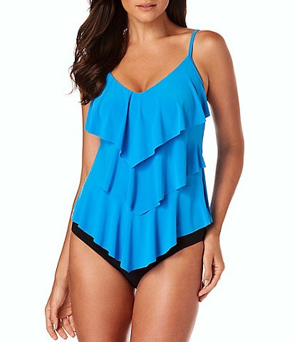 Magicsuit Solid Rita Tankini Control Fit Top & Brief Shirred Swimsuit Bottom