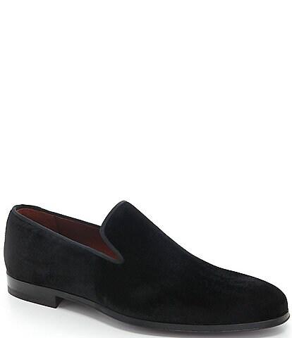 Magnanni Men's Dorio Venetian Velvet Grosgrain Piping Slip-On Loafers