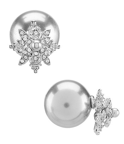 Marchesa Floral Faux-Pearl Front/Back Statement Earrings