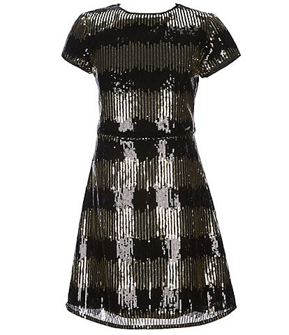 Marciano Big Girls 7-16 Short Sleeve Sequin Fit-And-Flare Dress