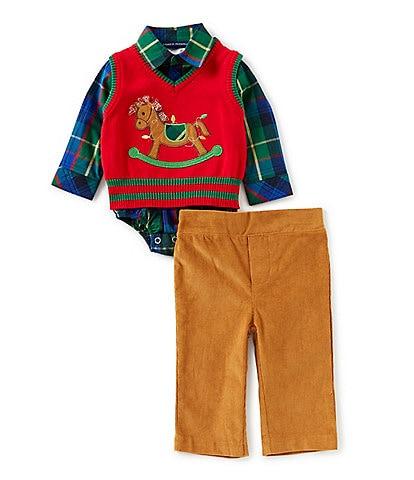 Matt's Scooter Baby Boys Newborn-24 Months Holiday Rockinghorse Sweater, Plaid Button-Up, & Pant Set