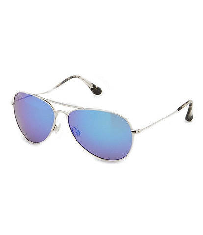Maui Jim Mavericks Polarized Mirrored Aviator Sunglasses