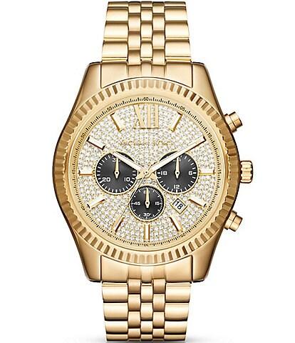 Michael Kors Lexington Pav-Dial Chronograph & Date Bracelet Watch