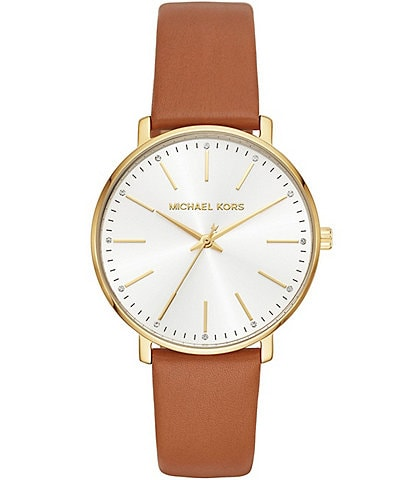Michael Kors Women's Gold-Tone and Luggage Leather Pyper Watch
