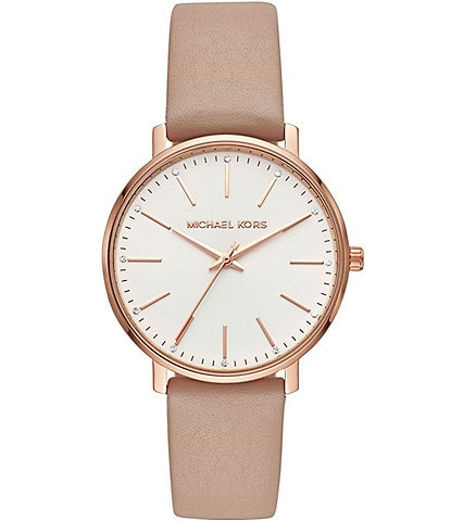 Michael Kors Women's Leather Pyper Watch