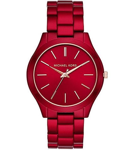 Michael Kors Women's Slim Runway Three-Hand Red-Coated Stainless Steel Watch