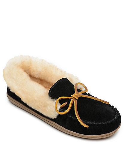 Minnetonka Alpine Suede Sheepskin Moc Slippers