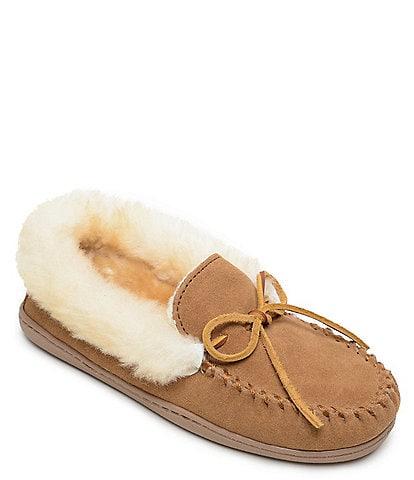 Minnetonka Alpine Suede Sheepskin Moc Slippers