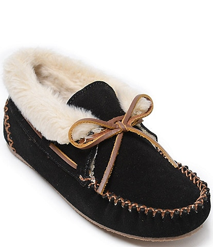 Minnetonka Chrissy Faux Shearling Suede Bootie Slippers