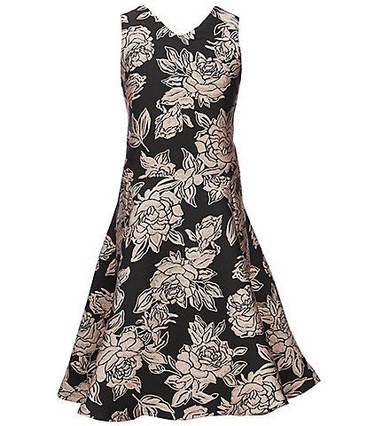 Miss Behave Big Girls 8-14 Sleeveless V-Neck Floral Jacquard A-Line Dress