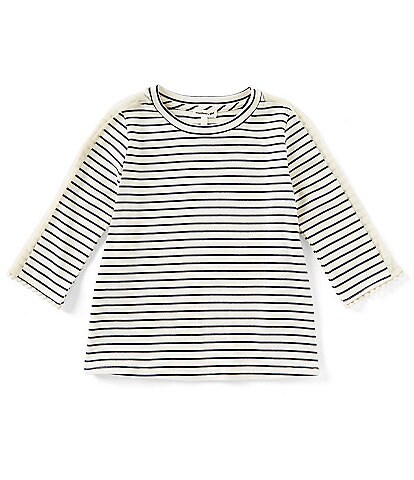 Monteau Girl Big Girls 7-16 French Terry Striped Top
