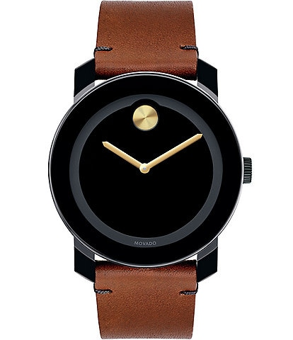 Movado Bold Black & Brown Leather Analog Watch