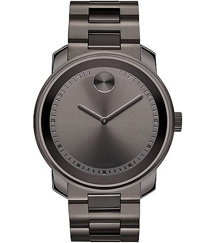 Movado Bold Men's Metals Gunmetal Grey Link Bracelet Watch