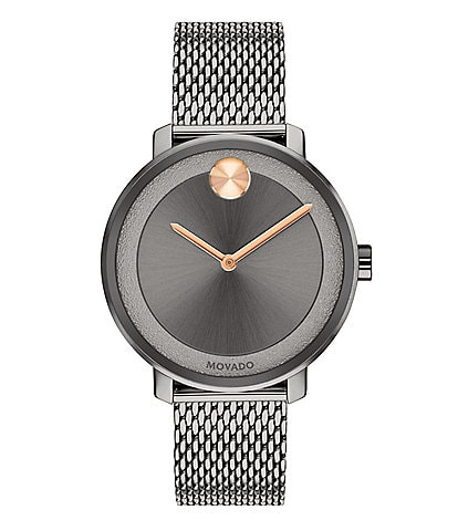 Movado Bold Grey IP Mesh Bracelet Watch