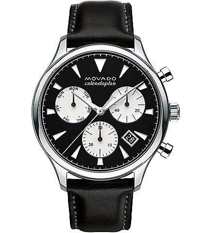 Movado Heritage Series Calendoplan Leather Strap Stainless Steel Chronograph Watch