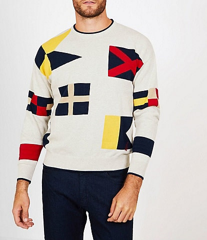 Nautica Long-Sleeve Graphic Signal Flags Crewneck Sweater
