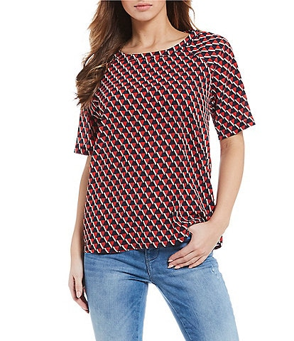 Noisy May Lulu Short Sleeve Triangle Print Top