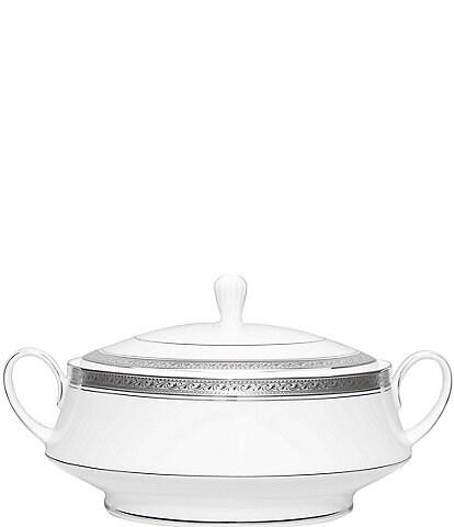 Noritake Crestwood Etched Platinum Porcelain Covered Vegetable Bowl